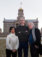 Meenakshi Gigi Durham (from left), Frank Durham, and Stephen Berry at the Pentacrest on the campus of the University of Iowa in Iowa City on Friday, January 27, 2012.