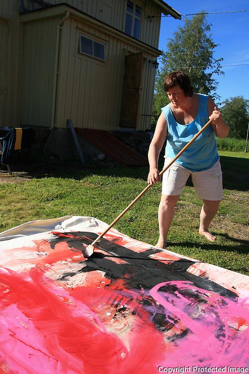 Workshop i Big painting på Haverneset i Selbu. Idun Slevikmoen. Foto: Bente Haarstad