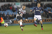 Mark Kitching shoots during the The FA Cup 4th round match between Millwall and Rochdale at The Den, London, England on 27 January 2018. Photo by Daniel Youngs.