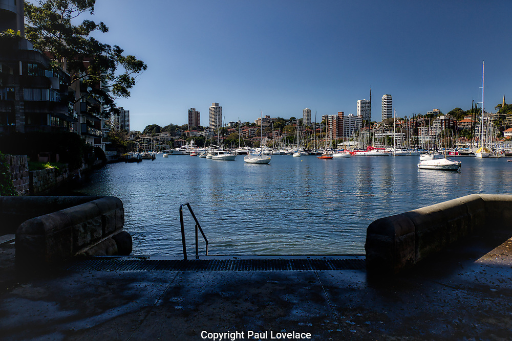 Entrance to Sydney Harbour, Rushcutters Bay, Sydney. Luxury properties surround this area.