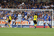 Ipswich Town defender James Wilson heads the ball clear from goal during the EFL Sky Bet League 1 match between Burton Albion and Ipswich Town at the Pirelli Stadium, Burton upon Trent, England on 3 August 2019.