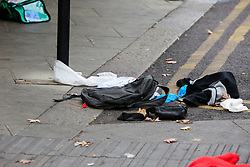 © Licensed to London News Pictures. 22/09/2019. London, UK. Clothing seen on the pavement outside a cafe and a restaurant on Langham Road in North London near Turnpike Lane underground and bus station where three men were stabbed and rushed to hospital. Met police were call shortly after 4pm this afternoon to Langham Road and found three men suffering from stab wounds. According to the Met Police, two men have been arrested on suspicion of GBH. Photo credit: Dinendra Haria/LNP