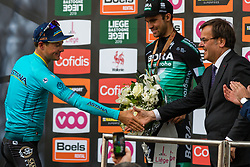 Winner Jakob Fuglsang (DEN) Astana Pro Team (KAZ,WT,Argon 18) on the podium after the 2019 Li&egrave;ge-Bastogne-Li&egrave;ge (1.UWT) with 256 km racing from Li&egrave;ge to Li&egrave;ge, Belgium. 28th April 2019. Picture: Pim Nijland | Peloton Photos<br /> <br /> All photos usage must carry mandatory copyright credit (Peloton Photos | Pim Nijland)