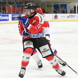 WHITBY, - Dec 15, 2015 -  WJAC Game 6- Team Russia vs Team Switzerland at the 2015 World Junior A Challenge at the Iroquois Park Recreation Complex, ON. Philipp Kurashev #23 of Team Switzerland pursues the play during the second period.<br /> (Photo: Andy Corneau / OJHL Images)