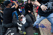 CHARLOTTESVILLE, USA - August 12: White Supremacists and counter protestors clash at Emancipation Park where the White Nationalists are protesting the removal of the Robert E. Lee monument in Charlottesville, Va., USA on August 12, 2017.