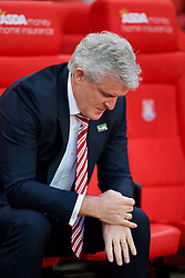 STOKE-ON-TRENT, ENGLAND - Monday, April 18, 2016: Stoke City's manager Mark Hughes before the FA Premier League match against Tottenham Hotspur at the Britannia Stadium. (Pic by David Rawcliffe/Propaganda)