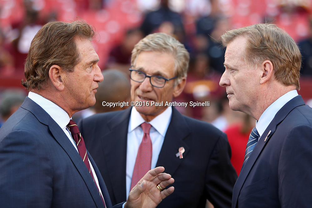 Former Washington Redskins quarterback Joe Theismann (left) talks to NFL commissioner Roger Goodell before the 2016 NFL week 1 regular season football game against the Pittsburgh Steelers on Monday, Sept. 12, 2016 in Landover, Md. The Steelers won the game 38-16. (©Paul Anthony Spinelli)