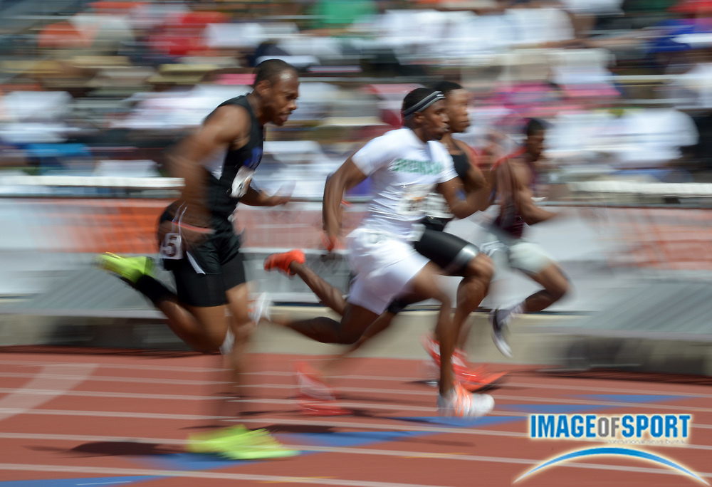 Mar 29, 2014; Austin, TX, USA; General view of sprinters in the Division II boys 100m in  the 87th Clyde Littlefield Texas Relays at Mike A. Myers Stadium.