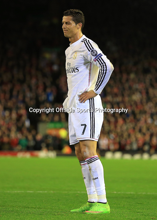22nd October 2014 - UEFA Champions League - Group B - Liverpool v Real Madrid - Cristiano Ronaldo of Real looks dejected - Photo: Simon Stacpoole / Offside.