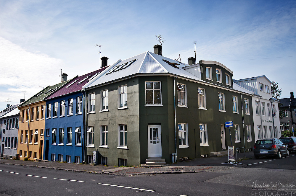 Colourful Urban architecture in Reykjavik, Iceland's city centre.