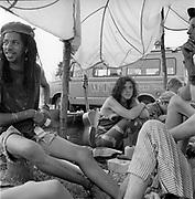 Hippy girl. Glastonbury festival. Somerset,1989.