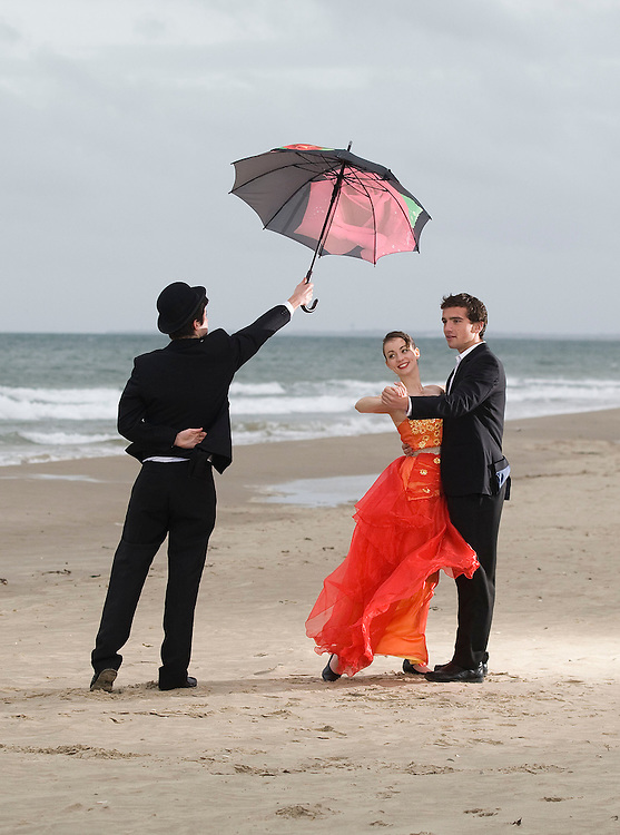 "17/10/2011. News. Free To use Image. Countdown to 59th Annual Wexford Festival Fringe this Week. Dancers April Dowdall (16), Gavin Byrne (16) and 'Butler' Patrick O'Conner (17) getting in some rehearsal time at Curracloe Beach, Wexford ahead of their performance in the Oyster Lane Theatre group production of Disney's 'Beauty and the Beast' which takes place during the 59th Wexford Festival Fringe; a 17 day celebration of music, song, dance and the arts which runs from October 20 to November 6, for details on the 250 events taking place see visitwexford.ie – photograph Patrick Browne<br /> <br /> The 59th Wexford Festival Fringe opens with a giant fireworks display in Wexford town to announce 17 days of fantastic Fringe Festival events which run in tandem with the famous Wexford Festival Opera which is currently celebrating its 60th year.<br />  <br /> Over 250 events will take place across the 17 days of the Fringe Festival with many taking place free of charge; organisers say the festival will attract approximately 18,000 visitors to the town.<br />  <br /> Commenting on the upcoming festival, Wexford Festival Fringe Coordinator, Orla Nolan said, ""This festival delivers the very best of Irish and international cultural experiences and it really offers something for all tastes and generations from an Art Exhibition with over 50 local and visiting artists showcasing their work, to Literary events to musical hits on stage and the many children's events.<br />  <br /> The festival takes place at a time of year which is typically seen as the close of the peak tourism season so it offers a huge economic boost to the town and environs.""<br />  <br /> The opening ceremony fireworks display takes place at 7pm on Friday, October 21 on Wexford Quays and it's a not to be missed spectacular for all the family. The Fringe Festival runs until November 6 and some of the many highlights include, live gigs, theatrical performances, photography and art exhibitions, literary recitals, dance, craft, children's and stre"