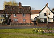 Village sign and houses, Dennington, Suffolk, England