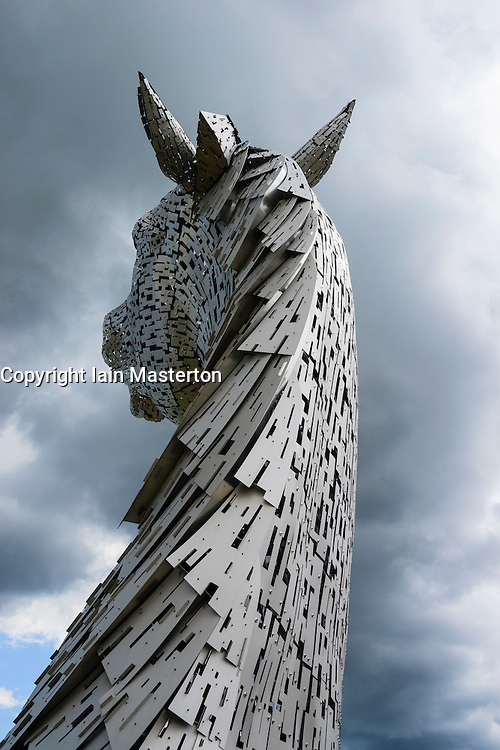 Detail of the Kelpies sculpture of horse at entrance to the Forth and Clyde Canal at The Helix Park near Falkirk, Scotland