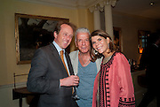 JOHN MOFFAT; NICKY HASLAM; IVANA LOWELL, An exhibition of watercolours by William Rayner at Mallet's, New Bond St. Party afterwards at Bellami's, bruton Place. London. 16 June 2010. .-DO NOT ARCHIVE-© Copyright Photograph by Dafydd Jones. 248 Clapham Rd. London SW9 0PZ. Tel 0207 820 0771. www.dafjones.com.