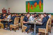 ESTEPONA - 08-01-2016, AZ in Spanje 8 januari, AZ speler Mounir El Hamdaoui, AZ speler Markus Henriksen, AZ speler Mattias Johansson
