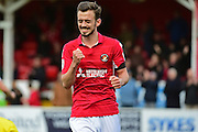 Ebbsfleet United midfielder Jack Powell (7) celebrates his goal 5-1 during the Vanarama National League South match between Ebbsfleet United and East Thurrock United at the Enclosed Ground, Whitehawk, United Kingdom on 4 March 2017. Photo by Jon Bromley.
