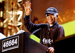 Madiba at the 46664 Concert at Fancourt. Picture Rogan Ward. 19 03 2005. For every woman and girl violently attacked, we reduce our humanity. For every moment we remain silent, we conspire against our women. For every woman infected by HIV, we destroy a generation.ø ≠ Nelson Mandela