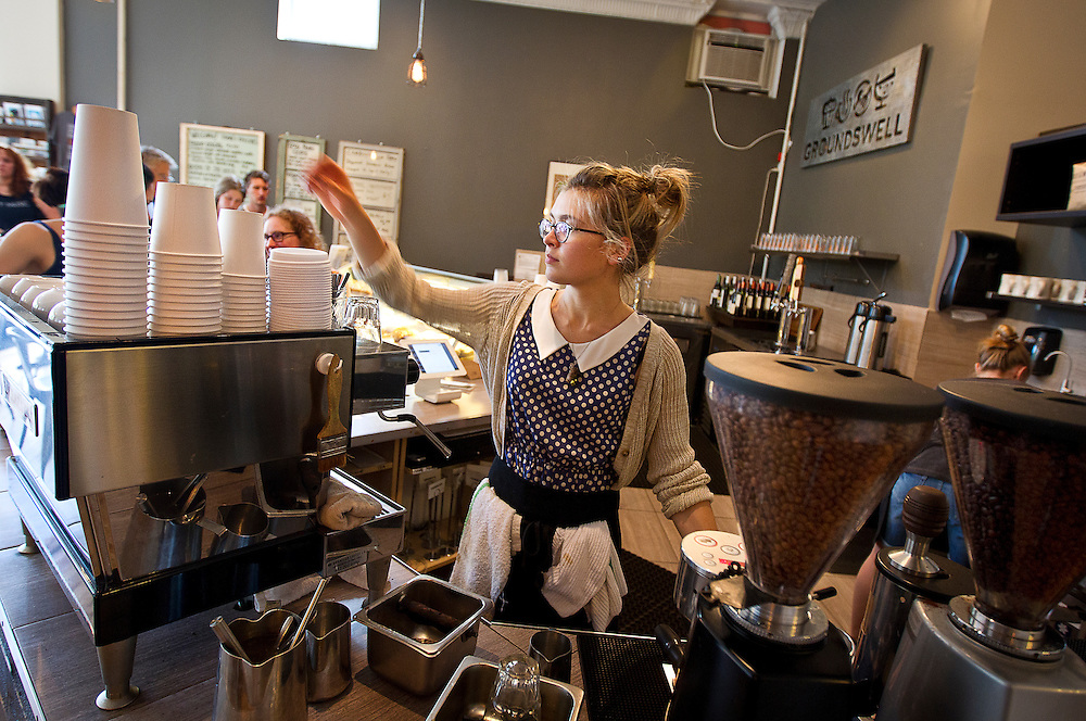 Barista Alyse Emanuel pours an espresso at Groundswell Coffee in St. Paul, Saturday, May 31, 2014. [ BEN BREWER • Special to the Star Tribune _ Assignments #  20034753A  DATE: May 31, 2014 SLUG: greenline.vita EXTRA INFORMATION: