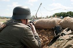 Reenactors portray panzer grenadiers during he Spam 1940s Wartime Weekend Heckmondwike day one.<br /> 9th July 2011