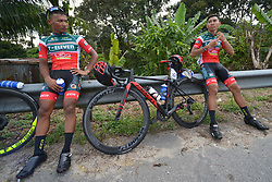 March 23, 2018 - Tanjung Malim, Malaysia - Members of 7 Eleven-Cliqq Roadbike Philippines at the finish line of the sixth stage, the 108.5km from Tapah to Tanjung Malim, of the 2018 Le Tour de Langkawi. .On Friday, March 23, 2018, in Tanjung Malim, Malaysia. (Credit Image: © Artur Widak/NurPhoto via ZUMA Press)
