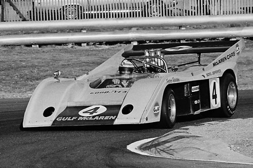 Peter Revson, McLaren M20, in hairpin at 1972 Laguna Seca Can-Am; Photo by Pete Lyons 1972/ © 204 Pete Lyons / petelyons.com