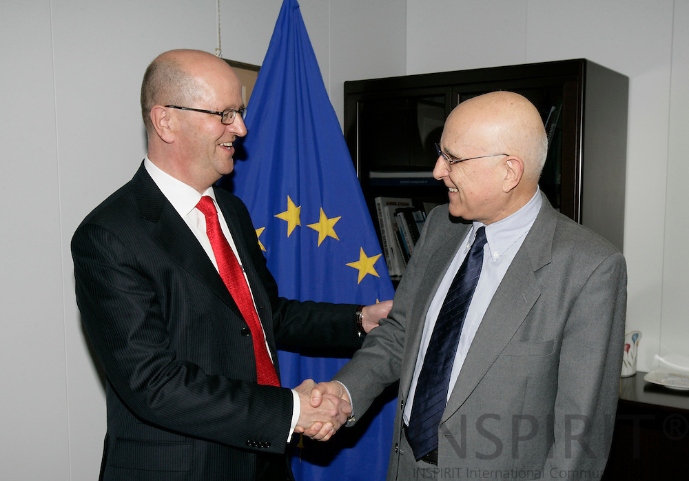 BRUSSELS - BELGIUM - 21 MARCH 2007 -- Mats JANSSON (L), CEO of the SAS Group, meeting with Stavros DIMAS, EU Commissioner for Environment.   PHOTO: ERIK LUNTANG