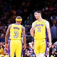 09 March 2018: Los Angeles Lakers guard Lonzo Ball (2) talks to Los Angeles Lakers guard Isaiah Thomas (3) during the Denver Nuggets125-116 victory over the Los Angeles Lakers, at the Pepsi Center, Denver, Colorado, USA.