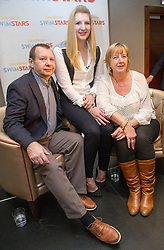 Rebecca Adlington with her parents Kay and Steve during press conference where she announced her retirement from competitive swimming, London, UK, February 5, 2013. Photo by: i-Images