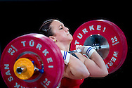Ewa Mizdal from Poland competes during Women's Weightlifting Polish Cup 2014 in Jozefow near Warsaw on March 30, 2014.<br /> <br /> Poland, Jozefow, March 30, 2014<br /> <br /> Picture also available in RAW (NEF) or TIFF format on special request.<br /> <br /> For editorial use only. Any commercial or promotional use requires permission.<br /> <br /> Mandatory credit:<br /> Photo by © Adam Nurkiewicz / Mediasport