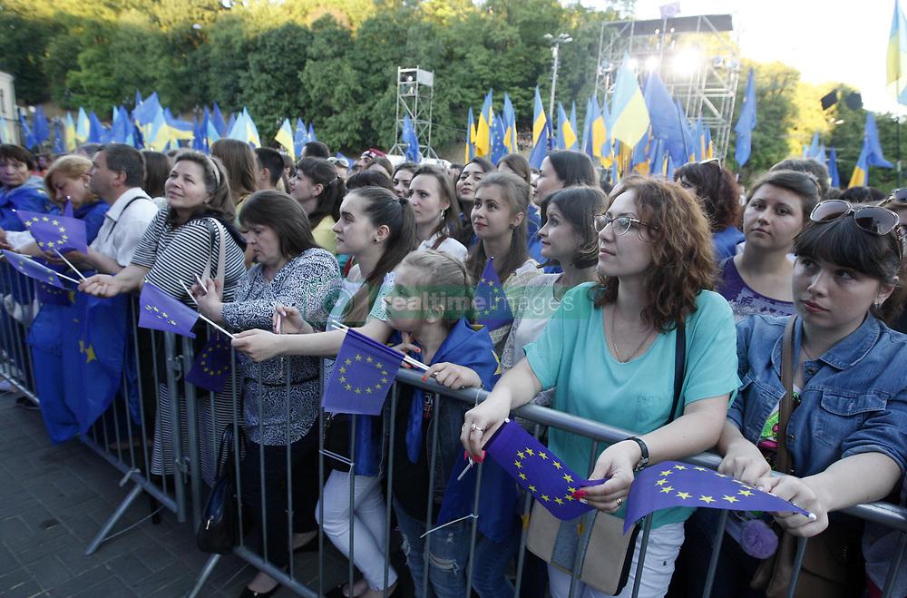 June 10, 2017 - Kiev, Ukraine - People take a part at a concert  dedicated to the abolition of EU visas for Ukrainian citizens, on European Square in Kiev, Ukraine, 10 June 2017. (Credit Image: © Str/NurPhoto via ZUMA Press)