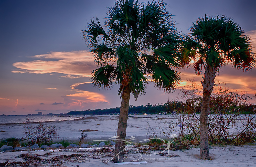 The sun sets behind two palm trees on Biloxi Beach in Biloxi, Miss., Sept. 6, 2012. (Photo by Carmen K. Sisson/Cloudybright)