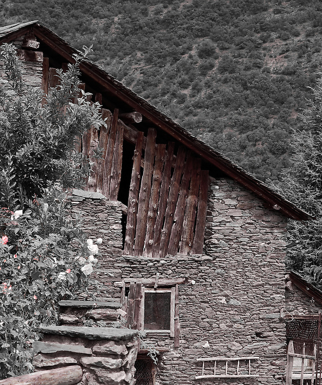 building, farm, Pyrenees, red, bucolic