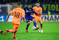 MARIBOR, SLOVENIA - OCTOBER 17: Marcos Tavares of NK Maribor vs Dejan Lovren of Liverpool FC during UEFA Champions League 2017/18 group E match between NK Maribor and Liverpool FC at Stadium Ljudski vrt, on October 17, 2017 in Maribor, Slovenia. (Photo by Vid Ponikvar / Sportida)