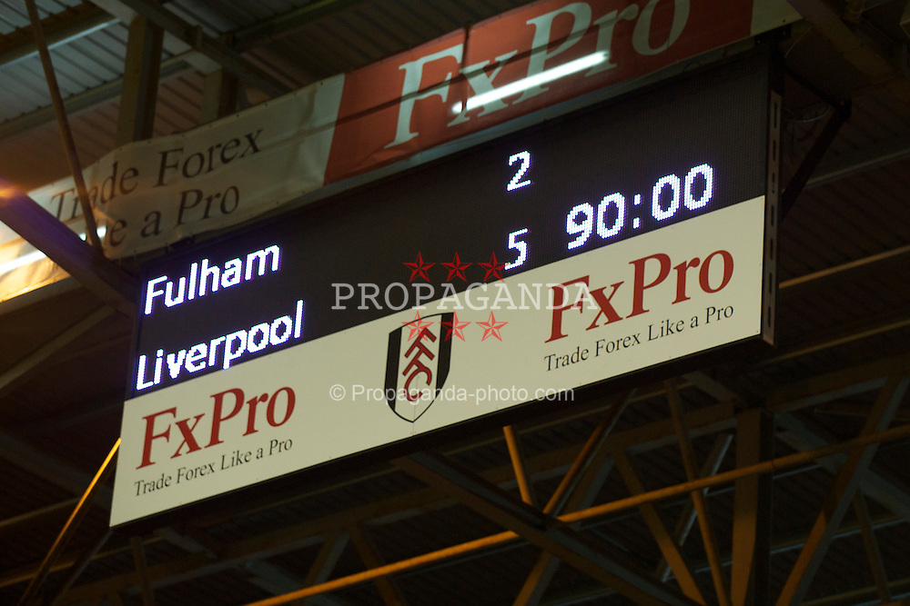 LONDON, ENGLAND - Monday, May 9, 2011: The scoreboard records Liverpool's 5-2 victory over Fulham during the Premiership match at Craven Cottage. (Photo by David Rawcliffe/Propaganda)