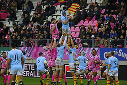 January 5, 2019 - Paris, France - Perpignan Lock TRISTAN LABOUTELEY in action during the French rugby championship Top 14 match between Stade Francais and  Perpignan at Jean Bouin Stadium in Paris - France..Stade Franais won 27-8 (Credit Image: © Pierre Stevenin/ZUMA Wire)