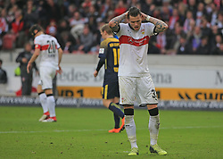 20180311, VfB Stuttgart vs RB Leipzig, Mercedes Benz Arena Fussball, Sport, im Bild:..Daniel Ginczek (VFB Stuttgart) enttaŸscht ...*Copyright by:  Philippe Ruiz..Postbank Muenchen.IBAN: DE91 7001 0080 0622 5428 08..Oberbrunner Strasse 2.81475 MŸnchen, .Tel: 089 745 82 22, .Mobil: 0177 29 39 408..( MAIL:  philippe_ruiz@gmx.de ) ..Homepage: www.sportpressefoto-ruiz.de. (Credit Image: © Philippe Ruiz/Xinhua via ZUMA Wire)