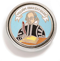 shakespeare pin silver and black