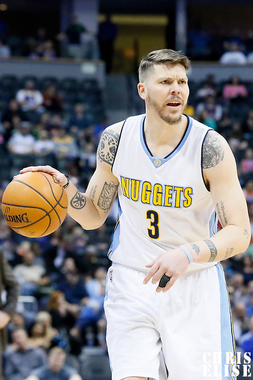 06 March 2016: Denver Nuggets guard Mike Miller (3) brings the ball up court during the Denver Nuggets 116-114 overtime victory over the Dallas Mavericks, at the Pepsi Center, Denver, Colorado, USA.