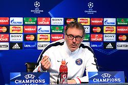 PSG Manager Laurent Blanc talks to the press - Mandatory byline: Matt McNulty/JMP - 07966386802  - FOOTBALL - Manchester City v PSG - Etihad Stadium -Manchester,England - UEFA Champions League