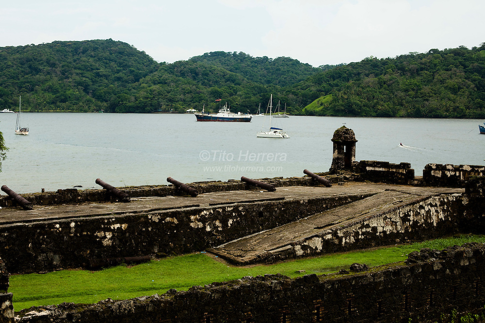 Portobelo ruins with the coast and the mountains in the background. Colon, Panama