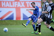 Kevin Roberts (Captain) (Halifax) shoots and scores the first goal of the game. 1-0 to the home team during the Vanarama National League North Play Off final match between FC Halifax Town and Chorley at the Shay, Halifax, United Kingdom on 13 May 2017. Photo by Mark P Doherty.