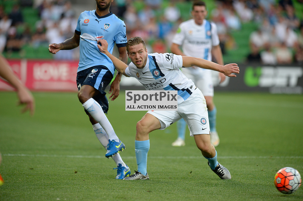 Michael Tavares of Sydney FC, Jacob Melling of Melbourne City - Hyundai A-League, January 2nd 2016, RD13 match between Melbourne City FC V Sydney FC at Aami Park, Melbourne, Australia in a 2:2 draw. © Mark Avellino | SportPix.org.uk