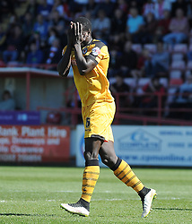 Dejection for Newport County's Ismail Yakubu as his header goes just wide.  - Photo mandatory by-line: Harry Trump/JMP - Mobile: 07966 386802 - 06/04/15 - SPORT - FOOTBALL - Sky Bet League Two - Exeter City v Newport County - St James Park, Exeter, England.