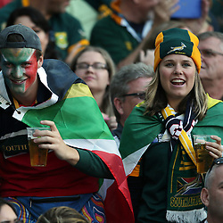 BRIGHTON, ENGLAND - SEPTEMBER 19: South African fans during the Rugby World Cup 2015 Pool B match between South Africa and Japan at Brighton Community Centre on September 19, 2015 in Brighton, England. (Photo by Steve Haag/Gallo Images)