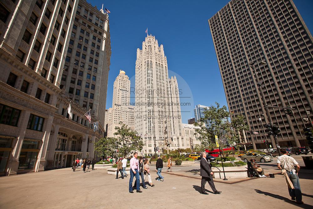 Chicago Tribune building along Michigan Ave in Chicago, IL, USA.