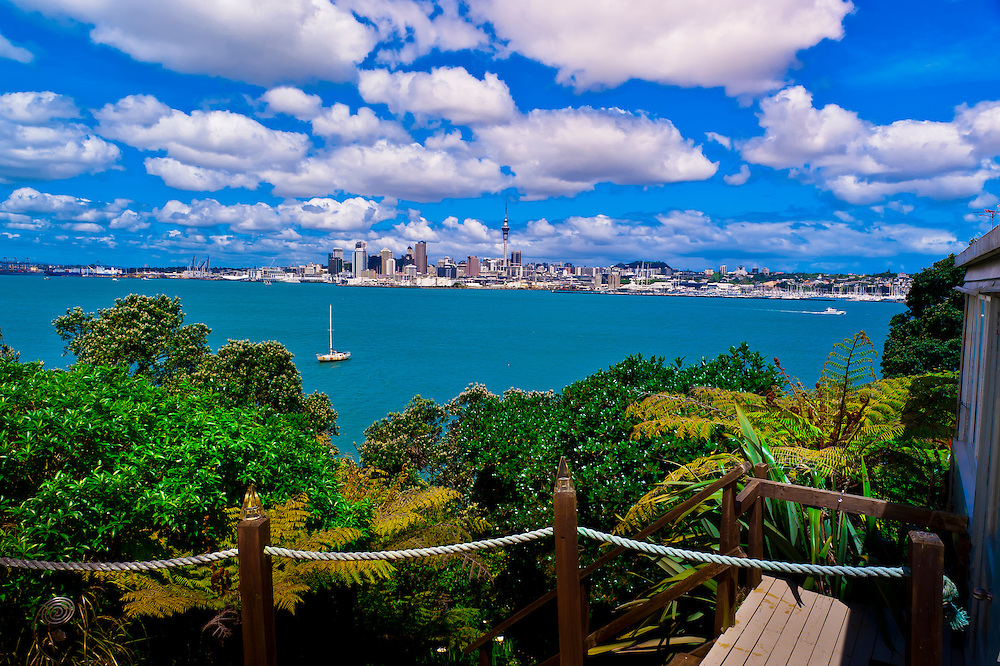 The skyline of Auckland, New Zealand (with the 328 meter high Sky Tower rising above it) from the Auckland No. 1 House bed and breakfast.