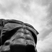 A Botero sculpture of a strong man's body in downtown Medellin, Colombia.