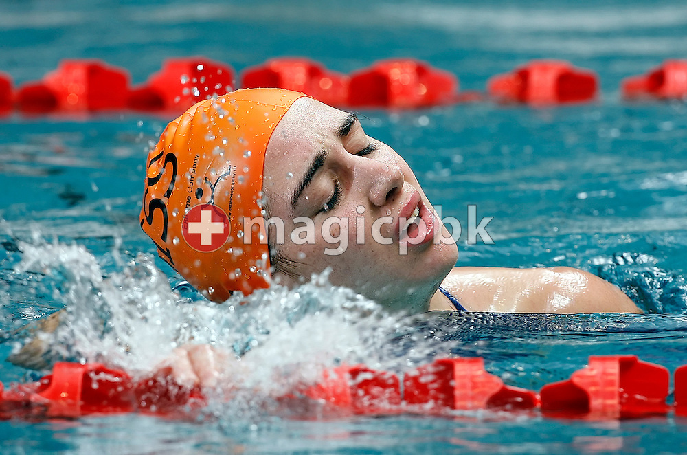 Laura NOCCIOLI of Switzerland reacts after winning in the women's 50m freestyle final in the Hallenbad Oerlikon at the Swimming Swiss Championships in Zurich, Switzerland, Saturday 12 May 2007. (Photo by Patrick B. Kraemer / MAGICPBK)