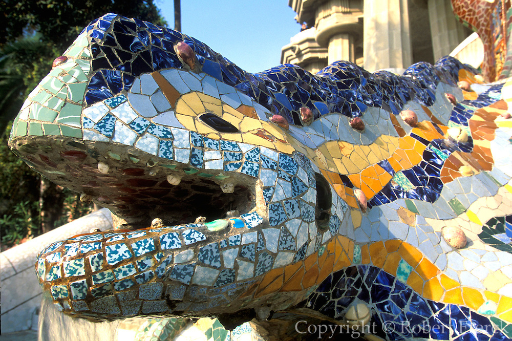 SPAIN, GAUDI, BARCELONA Parc Guell, mosaic dragon fountain